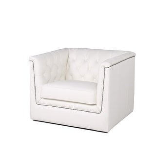 """Link to Copper Grove Tofua White Tufted Leather Chair - 36""""Dx38""""Wx36""""D Similar Items in Arm Chairs"""