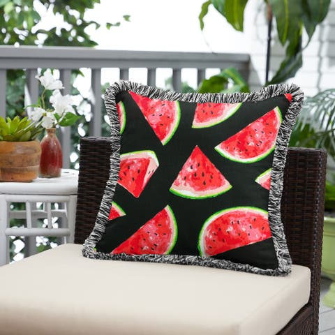 Watermelon Indoor/Outdoor Square Pillow with Fringe