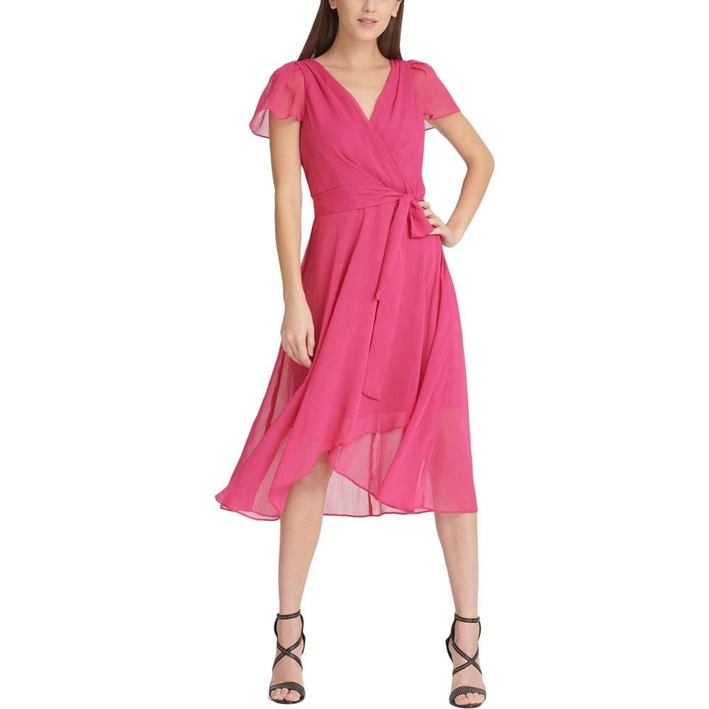 DKNY Womens Midi Dress Faux Wrap Hi-Low - Watermelon