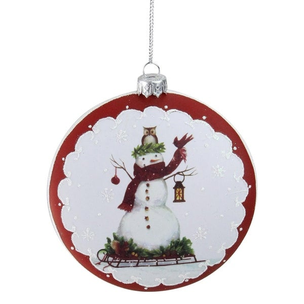 "5"" White and Burgundy Snowman on a Sled Glittered Christmas Tree Ornament"