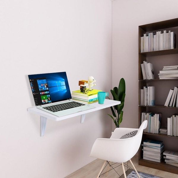 """23.6""""Folding Wall-mounted Computer Desk White. Opens flyout."""