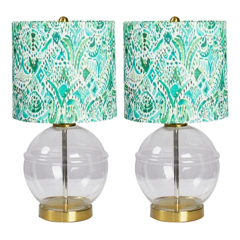 Tilly Glass Table Lamp with Printed Shade - Set of 2