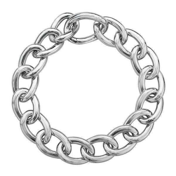 Chain Link Bracelet in Sterling Silver - White