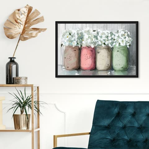 Oliver Gal 'Mason Jar Muted' Floral and Botanical Wall Art Framed Canvas Print Florals - White, Gray