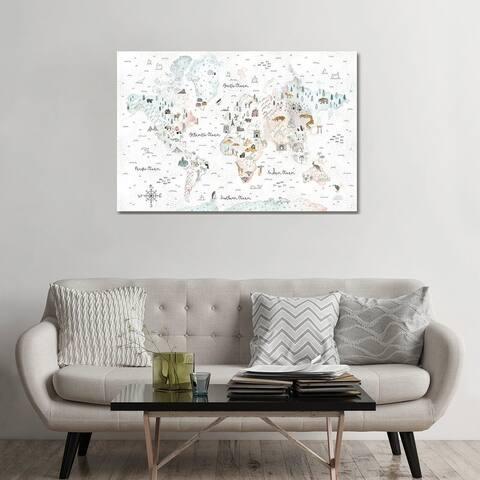 "iCanvas ""World Traveler I Dot BG"" by Laura Marshall Canvas Print"