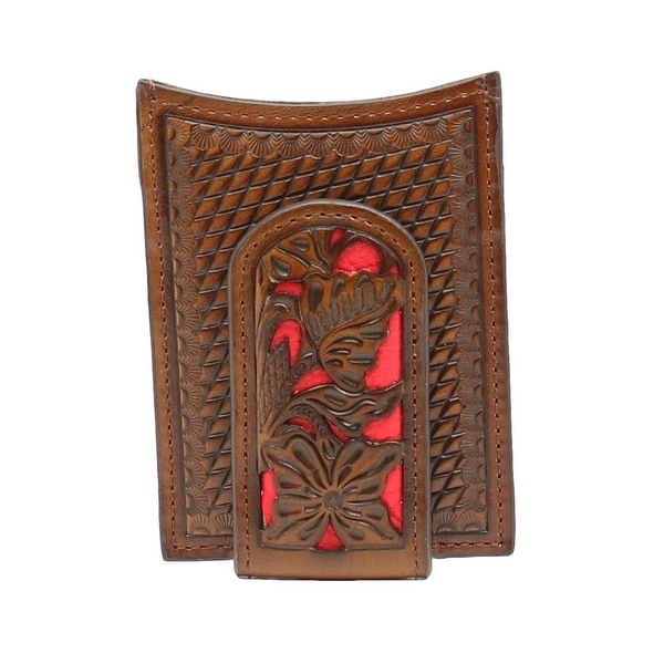 Nocona Western Wallet Classic Mens Money Clip Floral Weave - One size