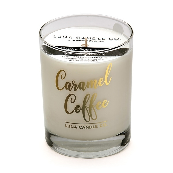 Fragrant Caramel Coffee Scented Jar Candle, Natural Soy Wax