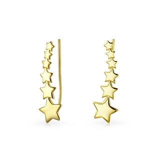 Bling Jewelry Modern Shooting Stars Ear Pins Crawlers Gold Plated SIlver