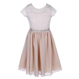Little Girls Champagne Lace Stone Belt Chiffon Flower Girl Party Dress