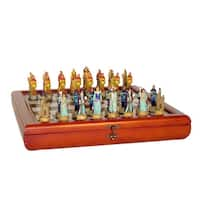 Sorcerer Resin Chess Men Set With Cherry Storage Chest - Multicolored