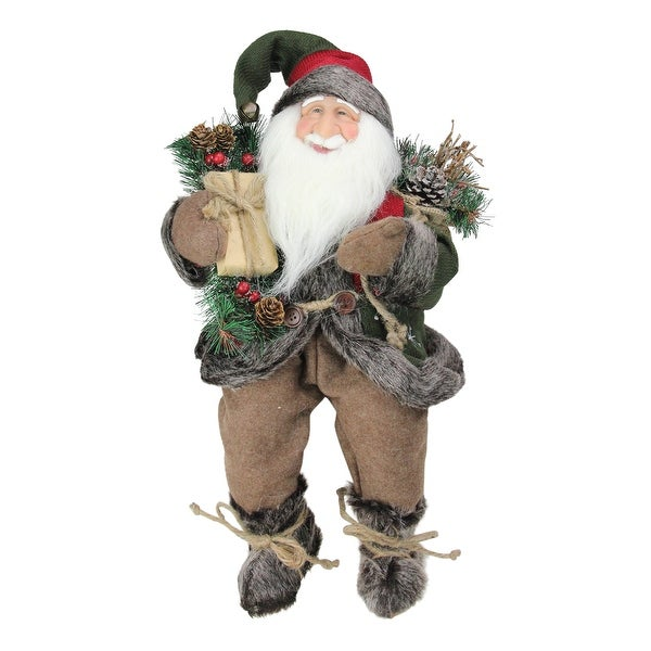 """16"""" Country Rustic Sitting Santa Claus Christmas Figure with Knitted Snowflake Jacket - RED"""