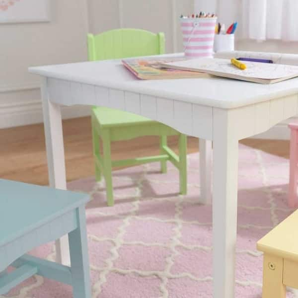 Shop Kidkraft Nantucket White Table 4 Pastel Chairs