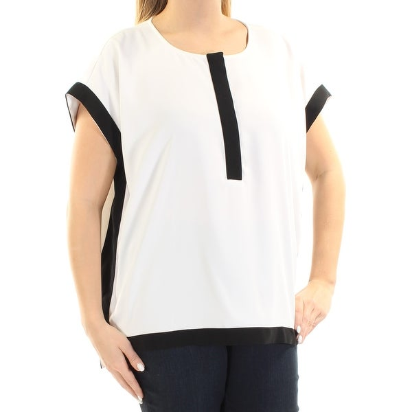 Womens White Black Short Sleeve Jewel Neck Casual Top Size 14