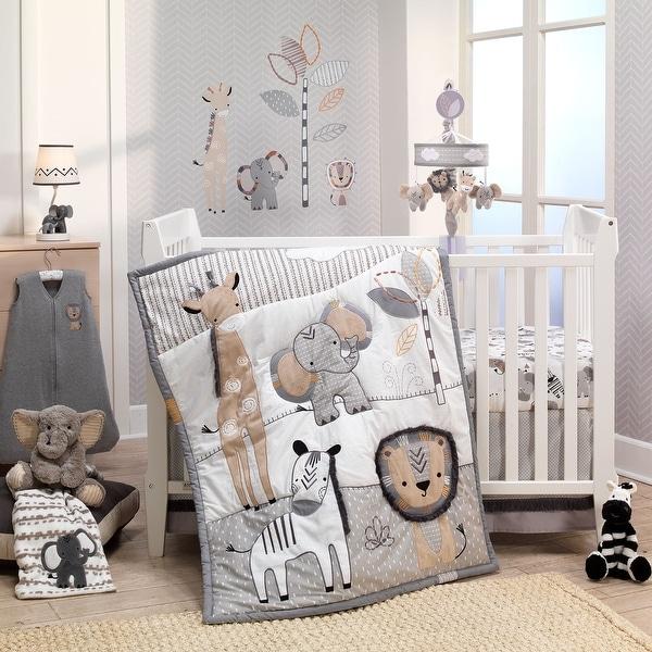 Lambs & Ivy Jungle Safari Gray/Tan/White Nursery 6-Piece Baby Crib Bedding Set. Opens flyout.