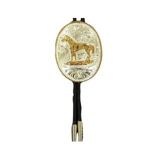 Crumrine Western Bolo Neck Tie Mens Oval Horse Silver Gold - silver gold - One size