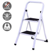 Gymax 2 Step Ladder Folding Steel Step Stool Anti-slip Heavy Duty with 330Lbs Capacity