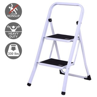 Gymax 2 Step Ladder Folding Steel Step Stool Anti-slip Heavy Duty with 330Lbs Capacity