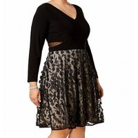 4f5275d49b5 Shop Xscape Plus Size Black Long-Sleeve Illusion 3-D Flower Cocktail ...