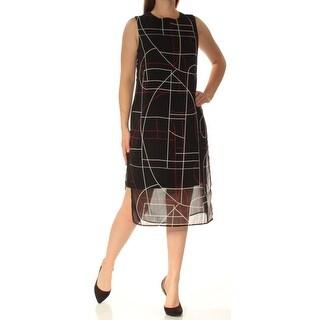 Womens Black Printed Sleeveless Below The Knee Shift Dress Size: 8