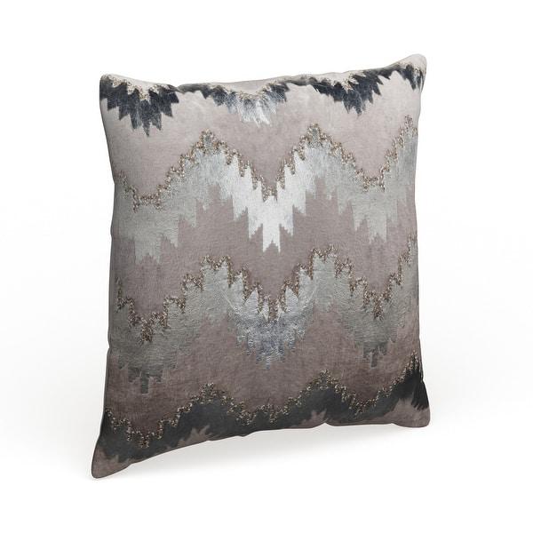 Safavieh 18 Inch Sophia Flamestitch Silver Decorative Pillow On Sale Overstock 13784454
