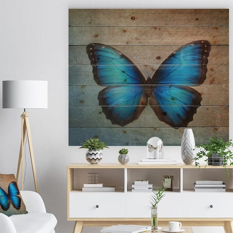 Designart 'Blue Vintage Butterfly' Floral Art Print on Natural Pine Wood - Blue
