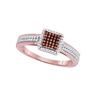 1/4Ctw Diamond Micro-Pave Bridal Engagement Ring 10K Rose-Gold