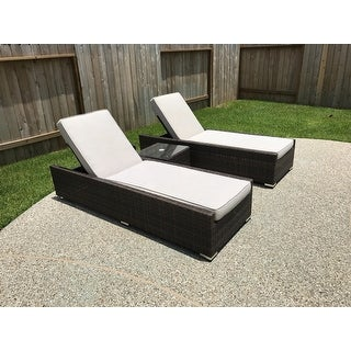 Vida Brown Wicker Outdoor Patio Chaise Lounger Chairs And Side Table (Set  Of 3) ...