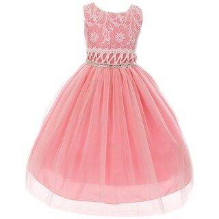 Sleeveless Lace Tulle Easter Party Flower Girl Dress USA Coral KK 6429