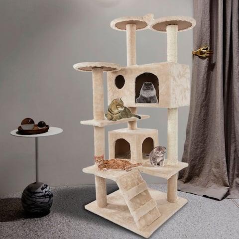 "52"" Solid Cute Sisal Rope Plush Cat Climb Tree Cat Tower Beige/Brown"