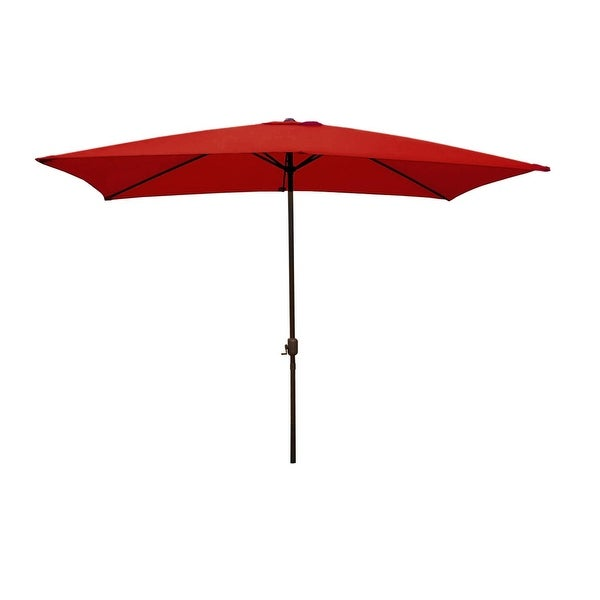 8.5' Outdoor Patio Market Umbrella with Hand Crank - Red