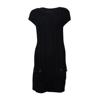 Style & Co. Women's Button Pocket Cable Knit Sweater Dress