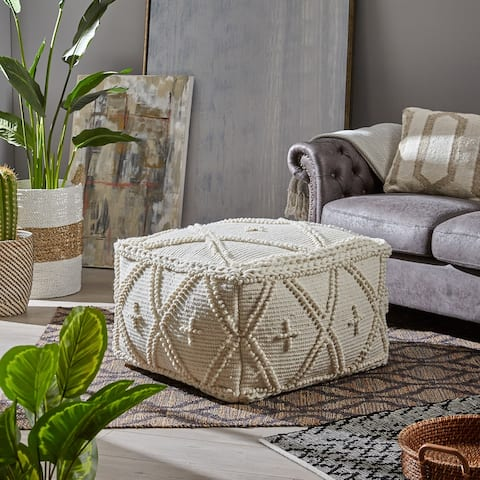 Fossa Handcrafted Boho Large Rectangular Pouf by Christopher Knight Home