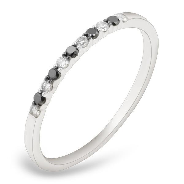 Prism Jewel 0.17Ct Round 1.45MM Black & White Diamond Wedding Band
