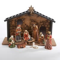 "10-Piece Classical Porcelain Christmas Nativity Manger Table Set 5"" - multi"