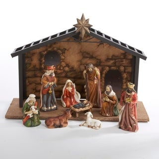 10-Piece Classical Porcelain Christmas Nativity Manger Table Set 5""