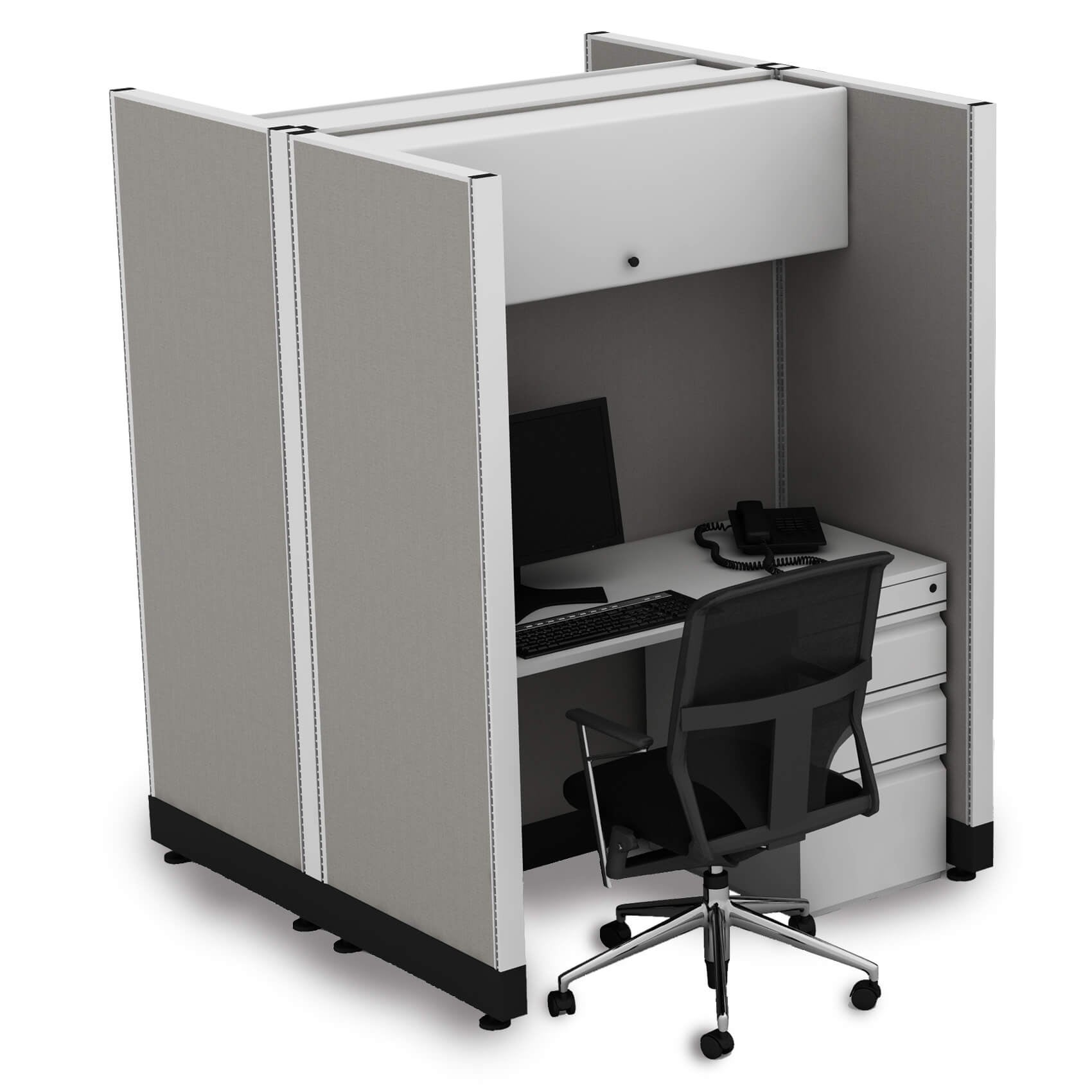 Hoteling Stations 67H 2pack Cluster Powered (2x3 - White Desk White Paint - Assembly Required)