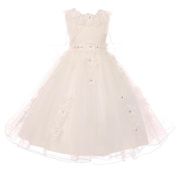 655e1b439e8 Shop Girls White Lace Satin Tulle Poncho-Style Overlay Communion ...