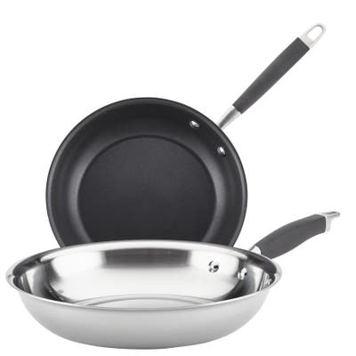 Anolon Tri-Ply Onyx Stainless Steel French Skillet, Twin Pack