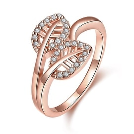 Double Leaf Rose Gold Branch Ring