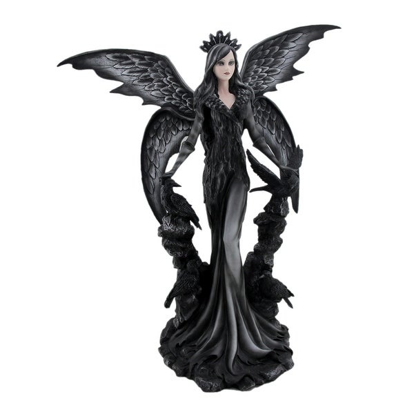 Sable the Dark Angel Queen Gothic Fairy and Ravens Statue - 24.5 X 22.5 X 10 inches