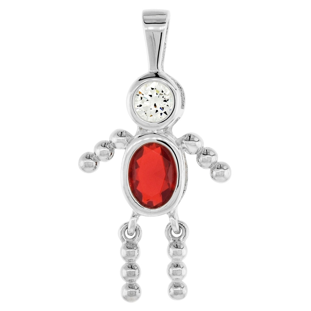925 Sterling Silver BOY Birthstone Charm Pendant Cubic Zirconia CZ Mother/'s Baby