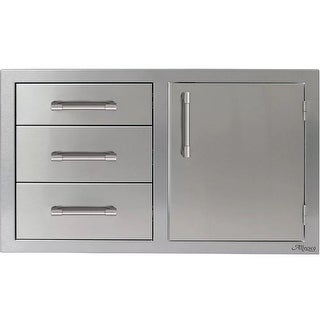 Alfresco AXE-DDC-R 32 Inch Wide Three Drawer Storage Unit with Right Side Door - STAINLESS STEEL - N/A