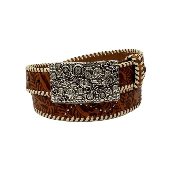 Nocona Western Belt Womens Laced Edge Rectangle Floral Tan