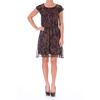 Impulse Womens Juniors Metallic Lace Trim Casual Dress - S