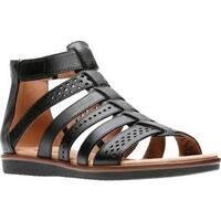 Clarks Women's Kele Lotus Gladiator Sandal Black Full Grain Leather