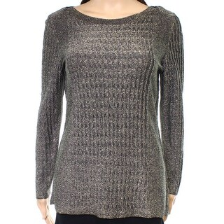 Nic + Zoe NEW Gold Womens Size Small S Ribbed Metallic Pullover Sweater