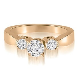 1.25 cttw. 14K Rose Gold Half-Bezel Three-Stone Round Diamond Engagement Ring