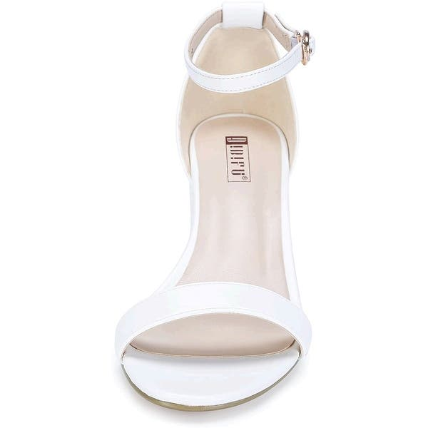 IDIFU Womens Cookie-LO Low Block Heels Chunky Sandals Ankle Strap Wedding Dress Pump Shoes