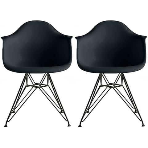 2xhome - Set of 2 - Modern Plastic Armchair with Black Eiffel Wire Legs Dining Molded Arm Chair