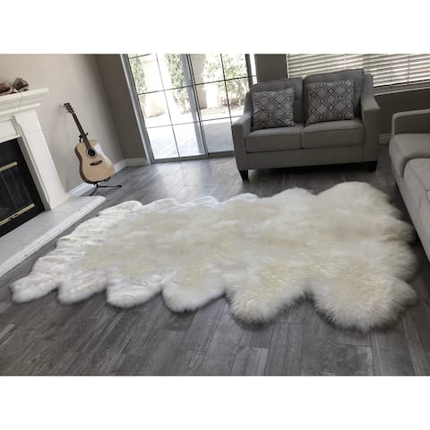 "Dynasty 12-Pelt Luxury Long Wool Sheepskin Off White Shag Rug - 5'5"" x 9'2"""